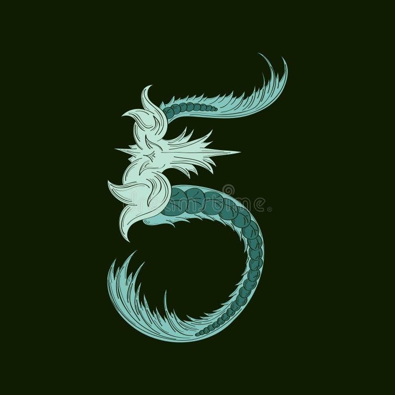 Αφηρημένος αριθμός 5 εικονίδιο λογότυπων στο μπλε τροπικό ύφος διανυσματική απεικόνιση