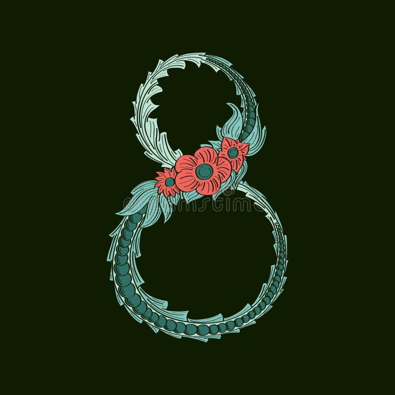 Αφηρημένος αριθμός 8 εικονίδιο λογότυπων στο μπλε τροπικό ύφος διανυσματική απεικόνιση