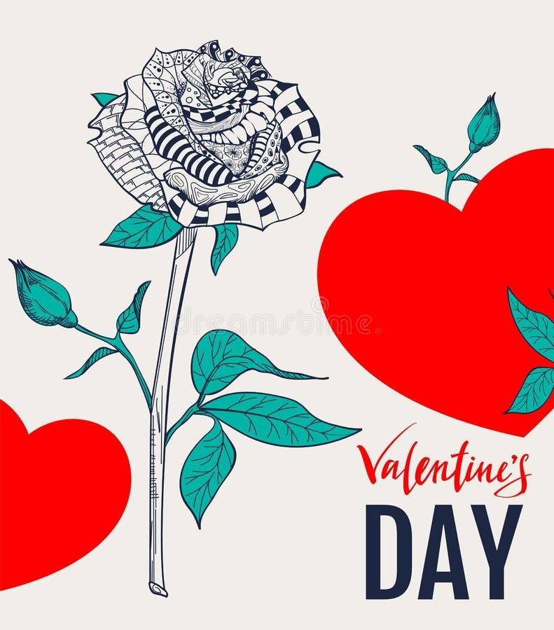 Αφηρημένος αυξήθηκε λουλούδι και κόκκινη μορφή καρδιών Κείμενο ευχετήριων καρτών για την ημέρα βαλεντίνων διανυσματική απεικόνιση