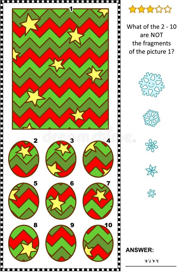 Αφηρημένος γρίφος εικόνων - μέρη και το σύνολο - χειμερινές διακοπές διανυσματική απεικόνιση