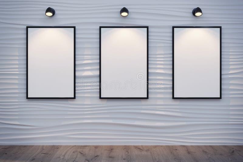 Αφηρημένος διακοσμητικός τοίχος κυμάτων με 3 άσπρα canvases διανυσματική απεικόνιση