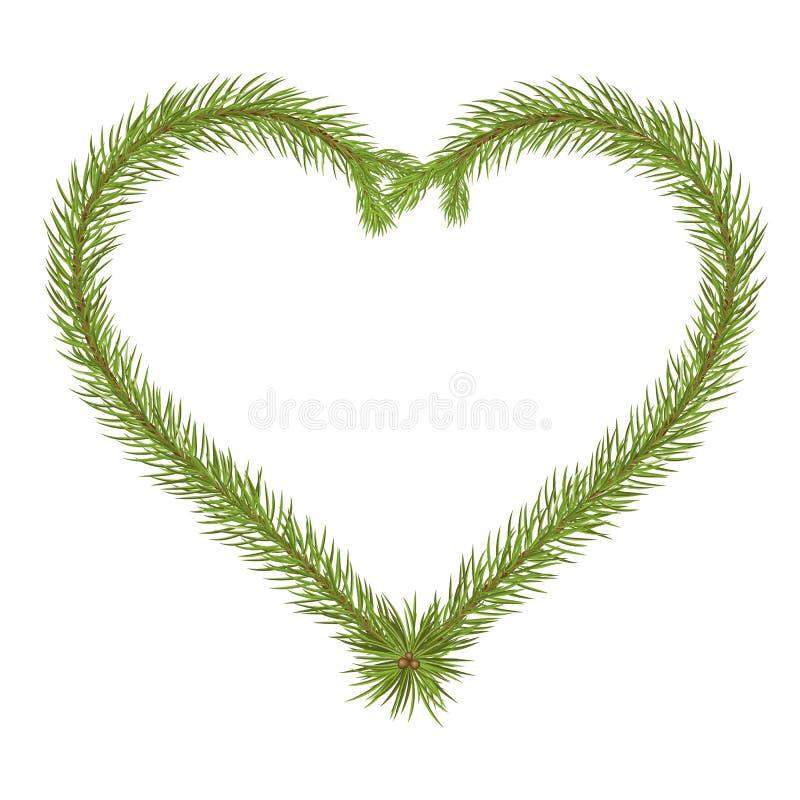 Αφηρημένος διαμορφωμένος καρδιά διανυσματικός κλάδος του FIR - μήνυμα αγάπης διανυσματική απεικόνιση