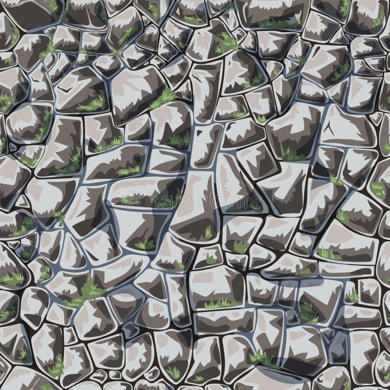 Αφηρημένος διανυσματικός τοίχος πετρών πρότυπο άνευ ραφής ελεύθερη απεικόνιση δικαιώματος