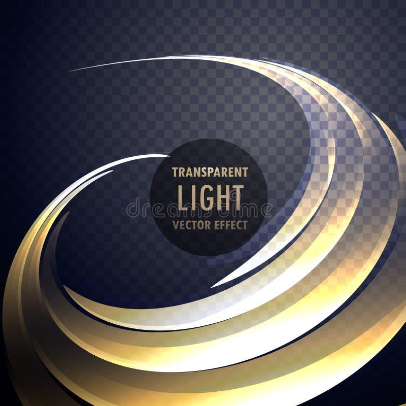 Αφηρημένος διαφανής στρόβιλος ελαφριάς επίδρασης με τις χρυσές καμπύλες νέου διανυσματική απεικόνιση