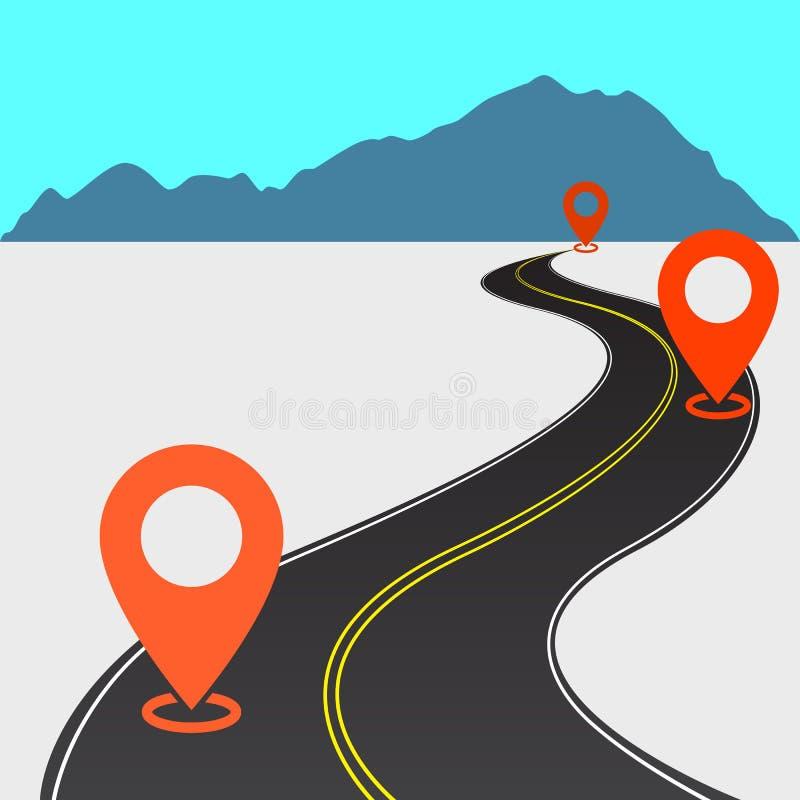 αφηρημένος δρόμος με καμπύλη άσφαλτο με διπλή κίτρινη γραμμή στο μέσο και πορτοκαλί ετικέτες πάνω του και βουνά διανυσματική απεικόνιση