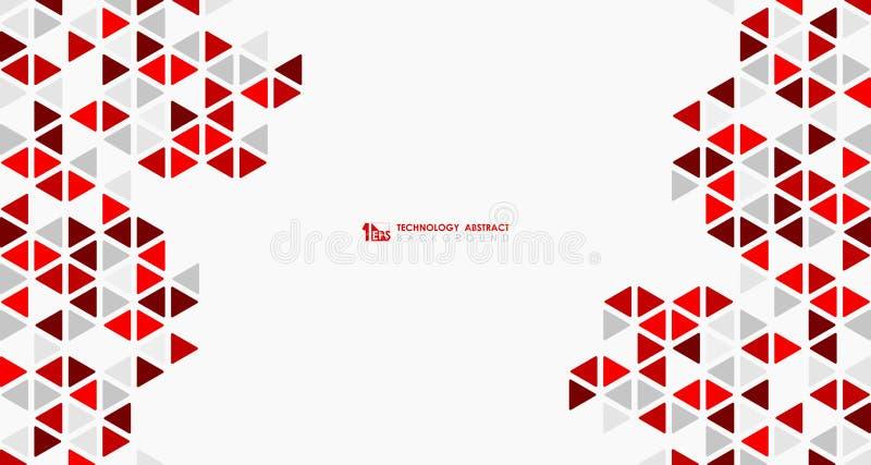 Αφηρημένος ευρύς κόκκινος κύβος της γεωμετρικής εξαγωνικής χαμηλής τεχνολογίας σχεδιασμού σχεδίων r διανυσματική απεικόνιση
