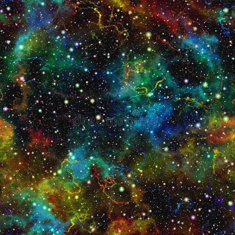 Αφηρημένος ζωηρόχρωμος κόσμος Έναστρος ουρανός νύχτας νεφελώματος Πολύχρωμο μακρινό διάστημα παλαιός τοίχος σύστασης τούβλου ανασ απεικόνιση αποθεμάτων