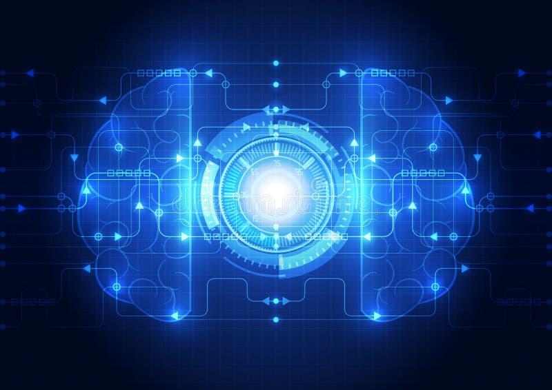 Αφηρημένος ηλεκτρικός ψηφιακός εγκέφαλος κυκλωμάτων, διάνυσμα έννοιας τεχνολογίας απεικόνιση αποθεμάτων