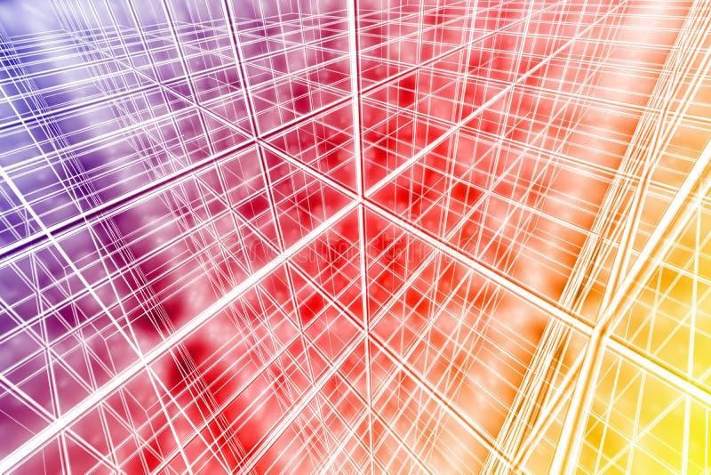 Αφηρημένος Ιστός δικτύων υποβάθρου Tesseract cyber πολύχρωμος απεικόνιση αποθεμάτων