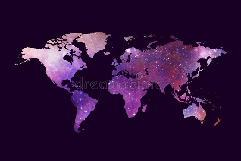 Αφηρημένος καλλιτεχνικός πολύχρωμος παγκόσμιος χάρτης σε ένα σκοτεινό πορφυρό υπόβαθρο απεικόνιση αποθεμάτων
