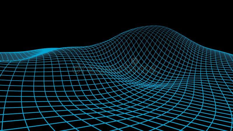 αφηρημένος κυβερνοχώρο&sigmaf Απεικόνιση πλέγματος τοπίων τρισδιάστατη τεχνολογία wireframe Ψηφιακό πλέγμα για τα εμβλήματα ελεύθερη απεικόνιση δικαιώματος