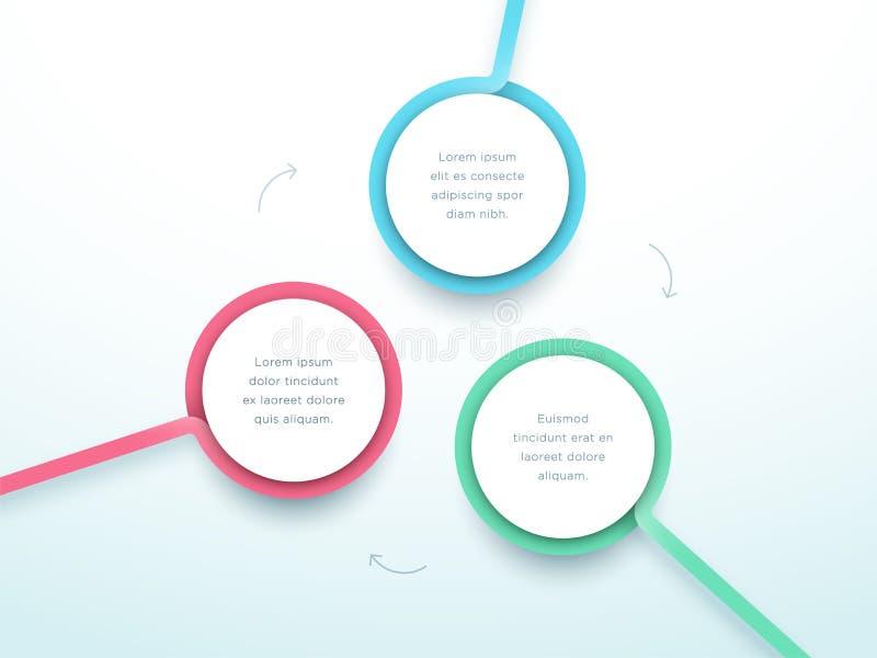 Αφηρημένος κύκλος 3 τρισδιάστατο ζωηρόχρωμο διάνυσμα Infographic βημάτων ελεύθερη απεικόνιση δικαιώματος