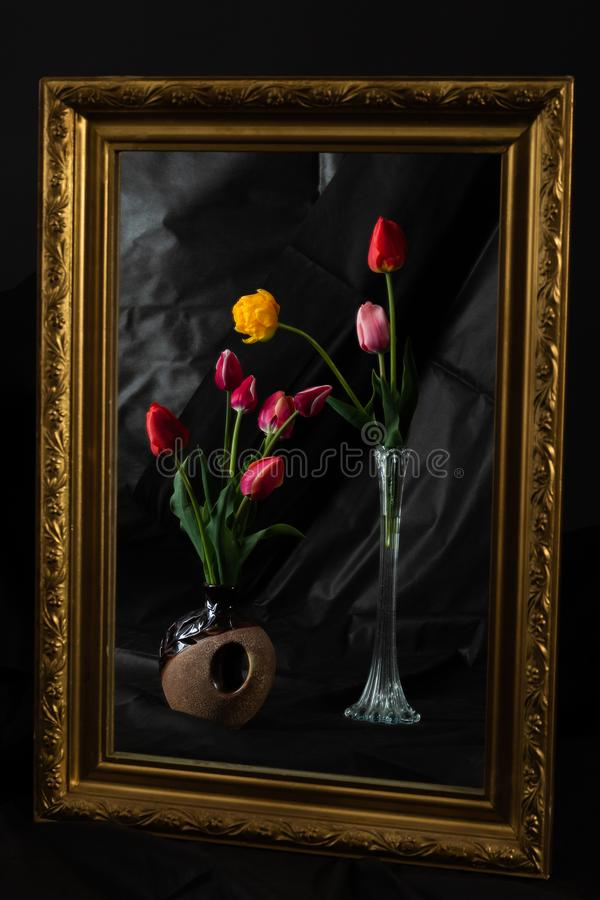 Αφηρημένος μαγικός Λουλούδια τουλιπών στο σκοτεινό δωμάτιο που απεικονίζει στον καθρέφτη στοκ εικόνες