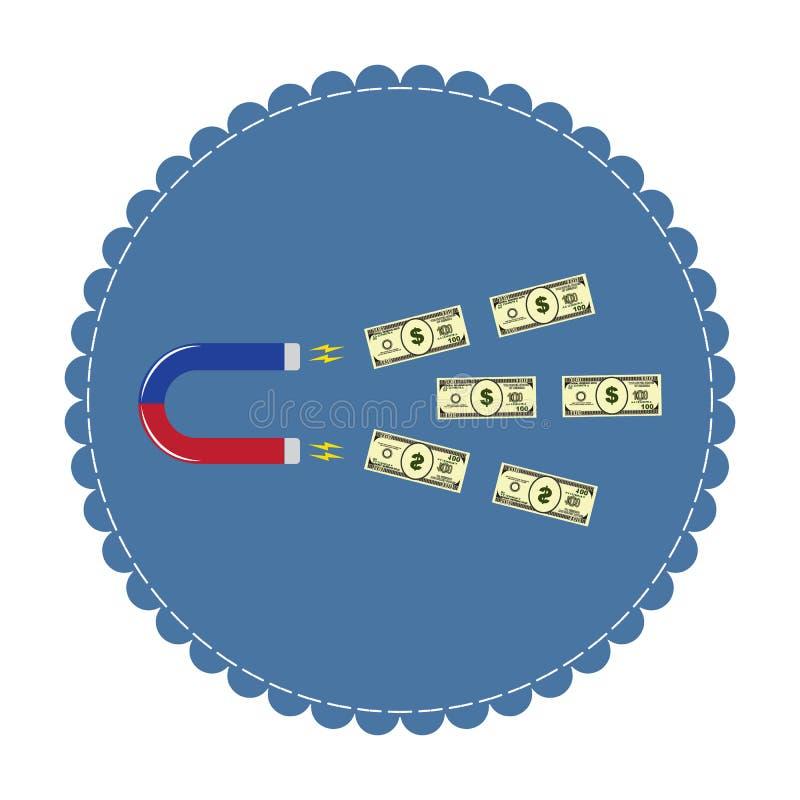 Αφηρημένος μαγνήτης της επιτυχίας, που προσελκύει τα χρήματα - δολάρια ελεύθερη απεικόνιση δικαιώματος