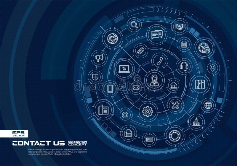 Αφηρημένος μας ελάτε σε επαφή με, υπόβαθρο τηλεφωνικών κέντρων Ψηφιακός συνδέστε το σύστημα με τους ενσωματωμένους κύκλους, καμμέ διανυσματική απεικόνιση