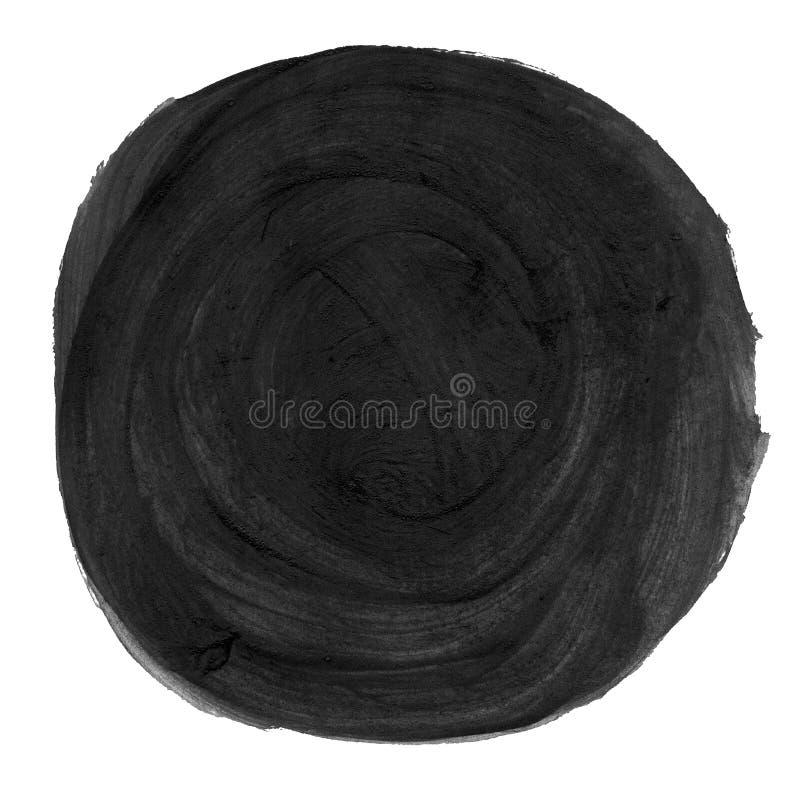 Αφηρημένος μαύρος χρωματισμένος watercolor κύκλος απεικόνιση αποθεμάτων