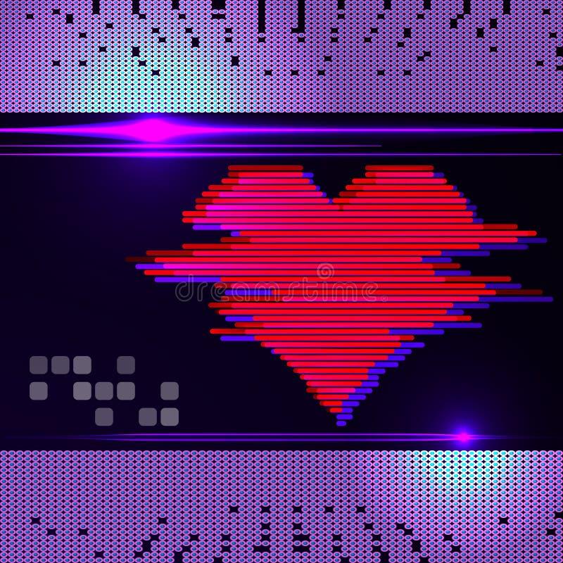 Αφηρημένος μηνύτορας καρδιών σε μια σκοτεινή ανασκόπηση. διανυσματική απεικόνιση