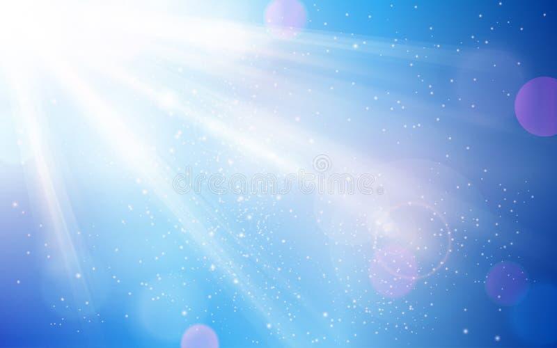 Αφηρημένος μπλε ουρανός τον ήλιο που εκρήγνυνται με και τα μουτζουρωμένα ελαφριά σημεία διανυσματική απεικόνιση