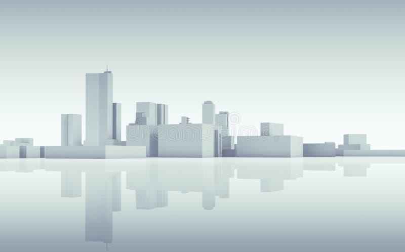 Αφηρημένος ορίζοντας εικονικής παράστασης πόλης Το μπλε τόνισε τρισδιάστατο διανυσματική απεικόνιση