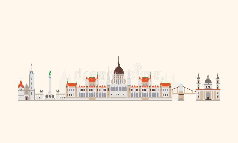 Αφηρημένος ορίζοντας της Βουδαπέστης απεικόνιση αποθεμάτων