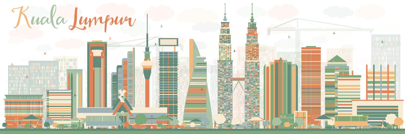 Αφηρημένος ορίζοντας της Κουάλα Λουμπούρ με τα κτήρια χρώματος διανυσματική απεικόνιση