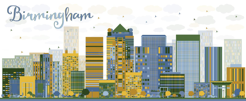 Αφηρημένος ορίζοντας του Μπέρμιγχαμ (Αλαμπάμα) με τα κτήρια χρώματος ελεύθερη απεικόνιση δικαιώματος