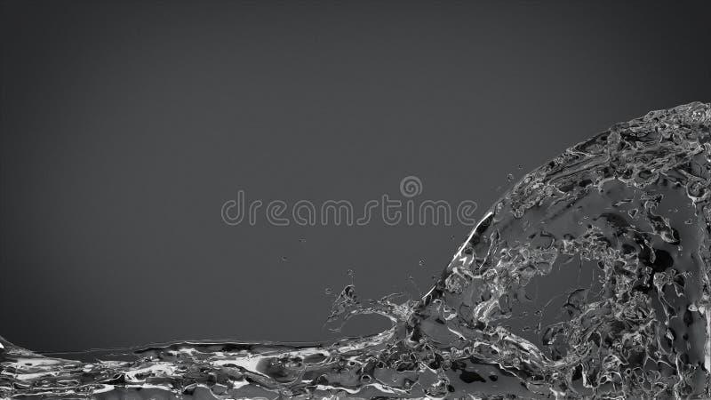 Αφηρημένος παφλασμός νερού κομψό σε σκούρο γκρι στοκ φωτογραφία