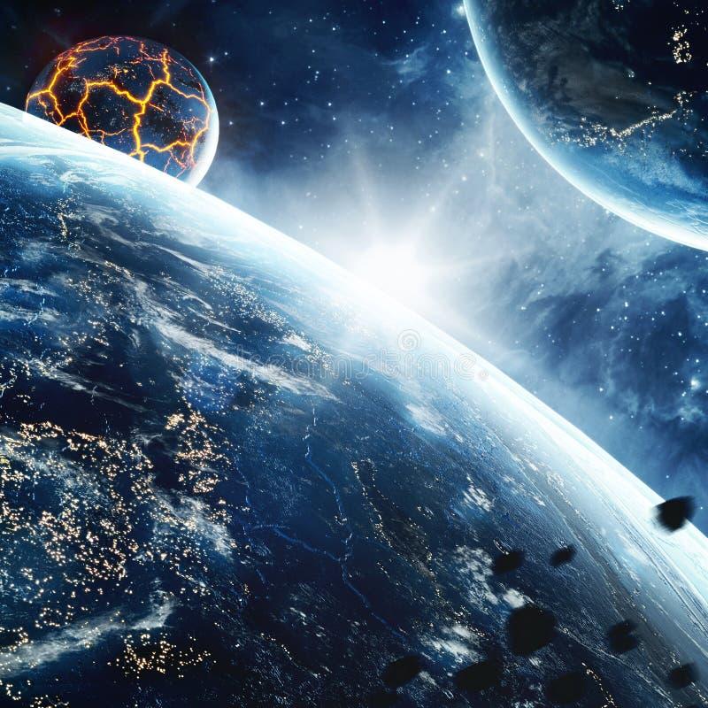 Αφηρημένος πλανήτης με τις τεράστιες ρωγμές με τη λάβα στο διάστημα Στοιχεία αυτής της εικόνας που εφοδιάζεται από τη NASA στοκ φωτογραφίες