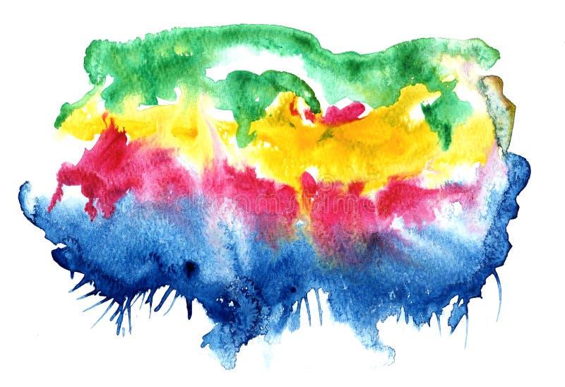 Αφηρημένος πολύχρωμος παφλασμός του υδατοχρώματος ελεύθερη απεικόνιση δικαιώματος