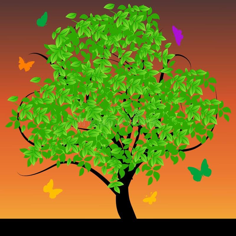 αφηρημένος πράσινος βγάζει φύλλα το δέντρο ελεύθερη απεικόνιση δικαιώματος