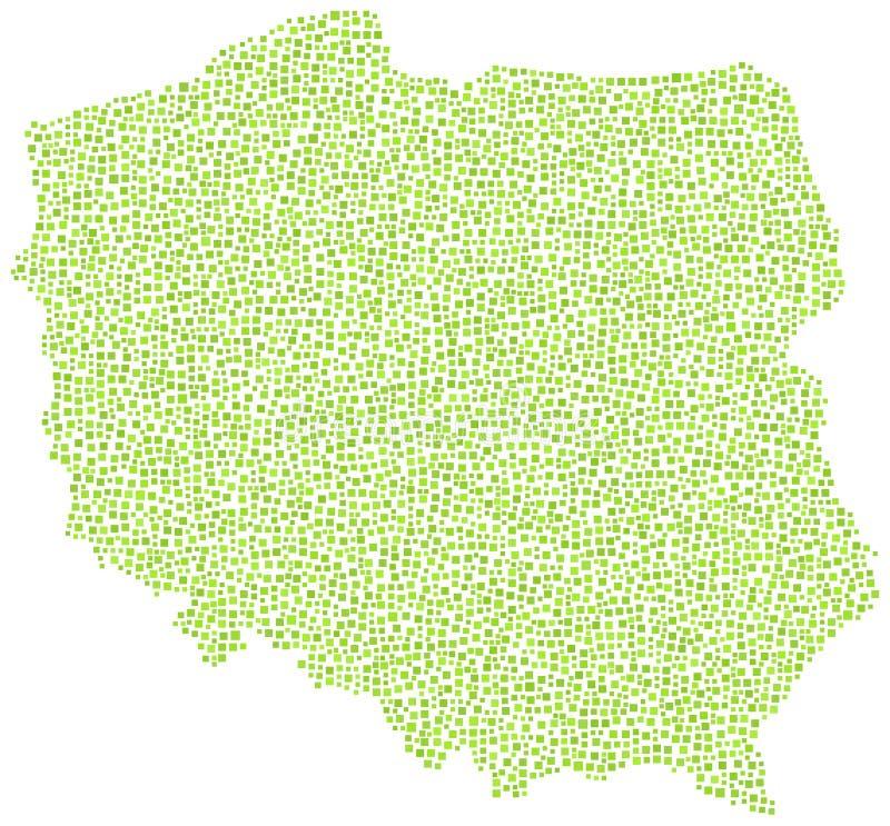 Αφηρημένος πράσινος χάρτης της Πολωνίας διανυσματική απεικόνιση