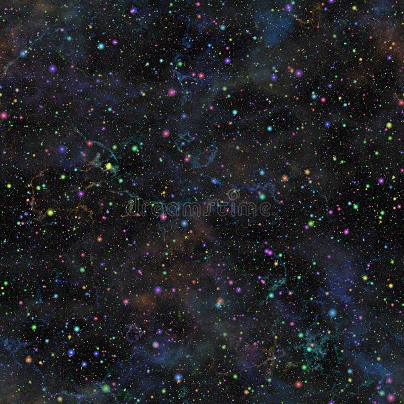Αφηρημένος σκούρο μπλε κόσμος Έναστρος ουρανός νύχτας νεφελώματος Ακτινοβολώντας μακρινό διάστημα παλαιός τοίχος σύστασης τούβλου διανυσματική απεικόνιση