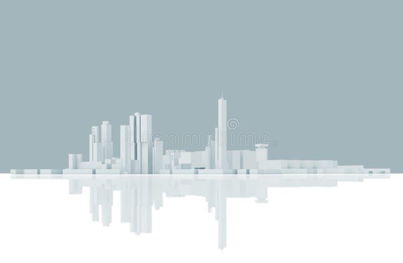 Αφηρημένος σύγχρονος ορίζοντας εικονικής παράστασης πόλης Μπλε που τονίζεται διανυσματική απεικόνιση