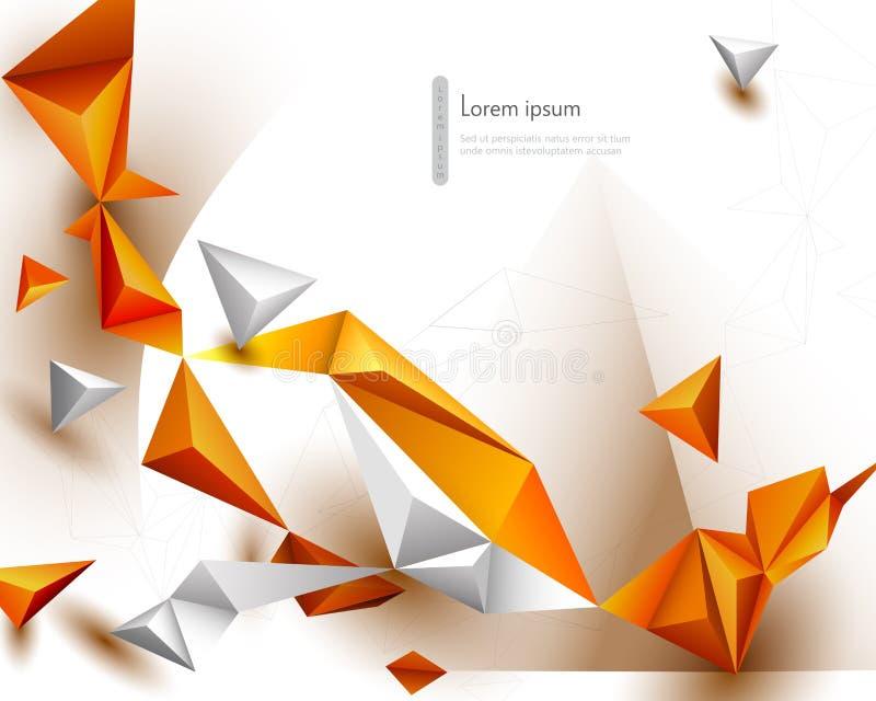 Αφηρημένος τρισδιάστατος γεωμετρικός, πολύγωνο, Yellow-orange μορφή σχεδίων τριγώνων χρώματος κλίσης στο άσπρο υπόβαθρο χρώματος  ελεύθερη απεικόνιση δικαιώματος
