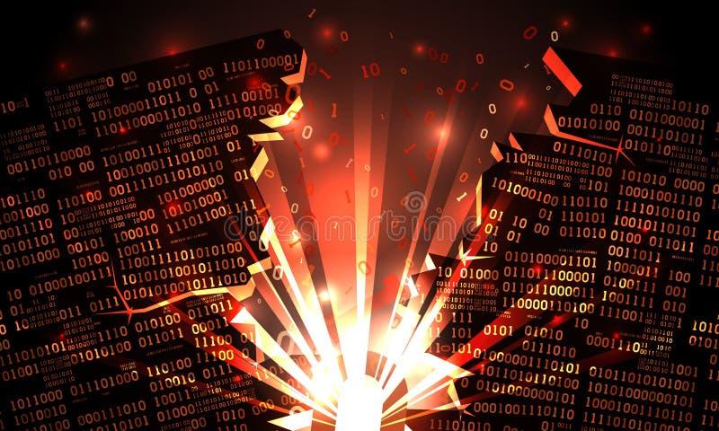 Αφηρημένος φουτουριστικός κυβερνοχώρος με ένα χαραγμένο δυαδικό στοιχείο, έκρηξη με τις ακτίνες του φωτός, ανθισμένος-επάνω στο δ διανυσματική απεικόνιση