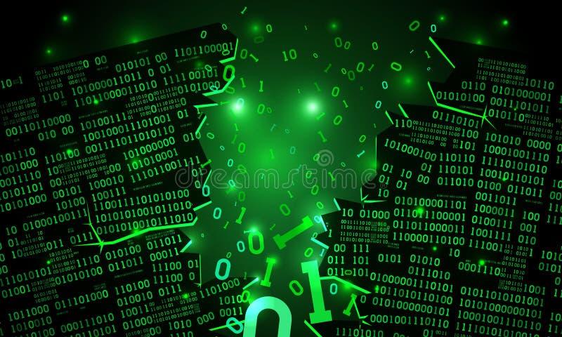 Αφηρημένος φουτουριστικός κυβερνοχώρος με μια χαραγμένη σειρά δυαδικών στοιχείων, σπασμένος μειωμένος δυαδικός κώδικας, υπόβαθρο  ελεύθερη απεικόνιση δικαιώματος