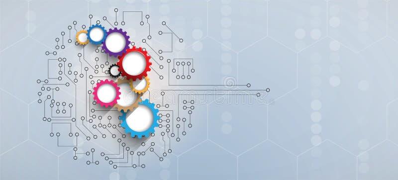 Αφηρημένος φουτουριστικός πίνακας β τεχνολογίας Διαδικτύου υπολογιστών κυκλωμάτων διανυσματική απεικόνιση