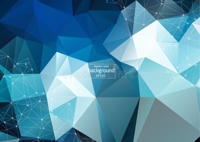 Αφηρημένος φουτουριστικός - τεχνολογία μορίων με τις γραμμικές και polygonal μορφές σχεδίων στο σκούρο μπλε υπόβαθρο ελεύθερη απεικόνιση δικαιώματος