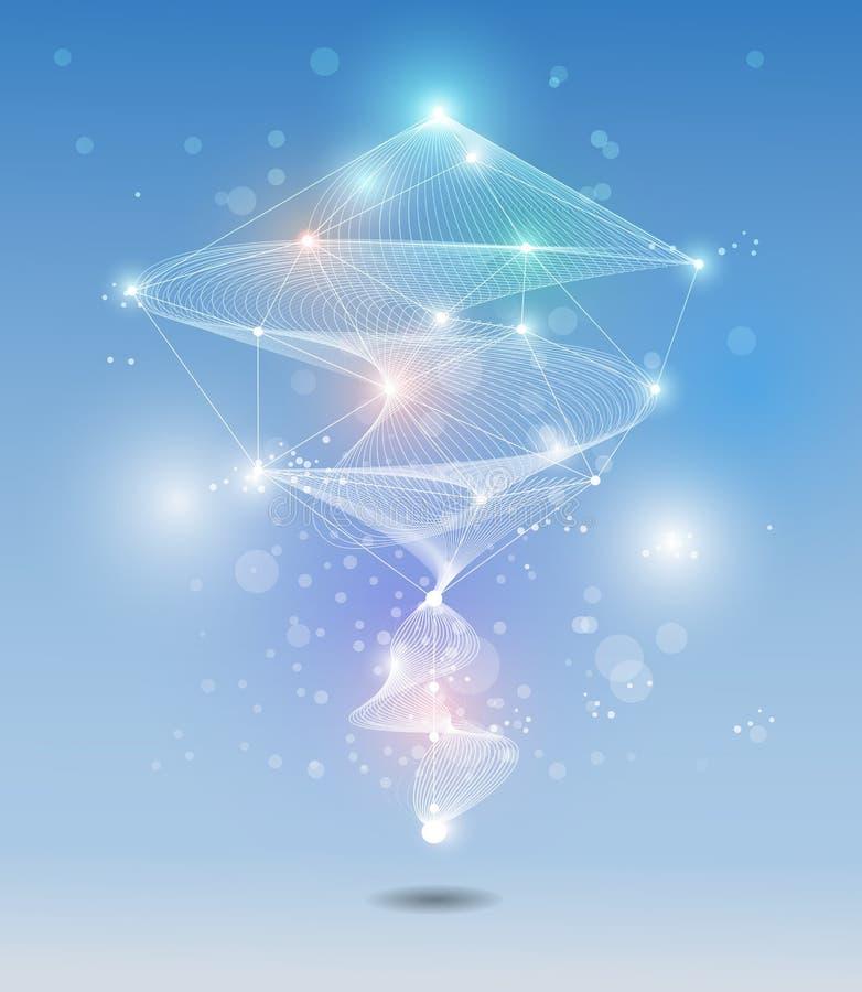 Αφηρημένος φουτουριστικός - τεχνολογία μορίων με το υπόβαθρο κυμάτων διανυσματική απεικόνιση