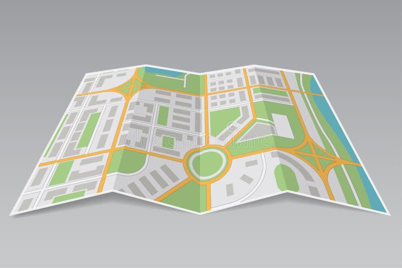 αφηρημένος χάρτης πόλεων Έγγραφο που διπλώνεται μερικώς στο γκρίζο υπόβαθρο απεικόνιση αποθεμάτων