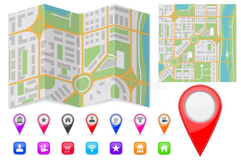 Αφηρημένος χάρτης πόλεων με τους δείκτες και τα εικονίδια θέσης διανυσματική απεικόνιση