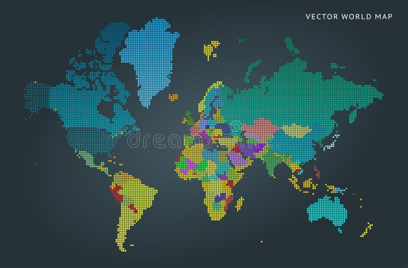 Αφηρημένος χάρτης του κόσμου με τις χώρες ελεύθερη απεικόνιση δικαιώματος