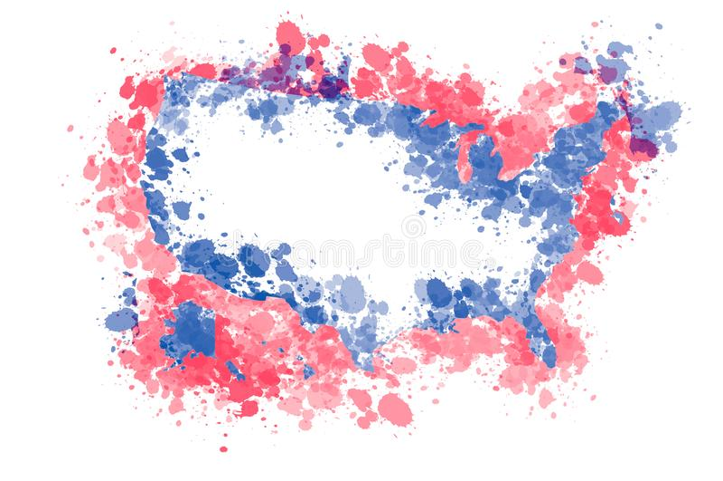 Αφηρημένος χάρτης των Ηνωμένων Πολιτειών της Αμερικής με τους παφλασμούς χρωμάτων ελεύθερη απεικόνιση δικαιώματος