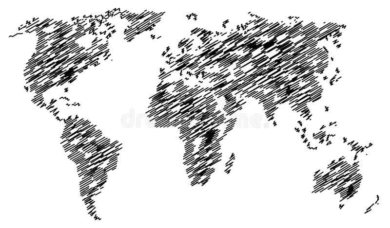 Αφηρημένος χαοτικός παγκόσμιος χάρτης που απομονώνεται στο άσπρο υπόβαθρο διανυσματική απεικόνιση