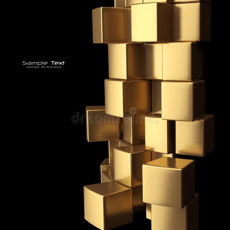 αφηρημένος χρυσός κύβων ανασκόπησης διανυσματική απεικόνιση