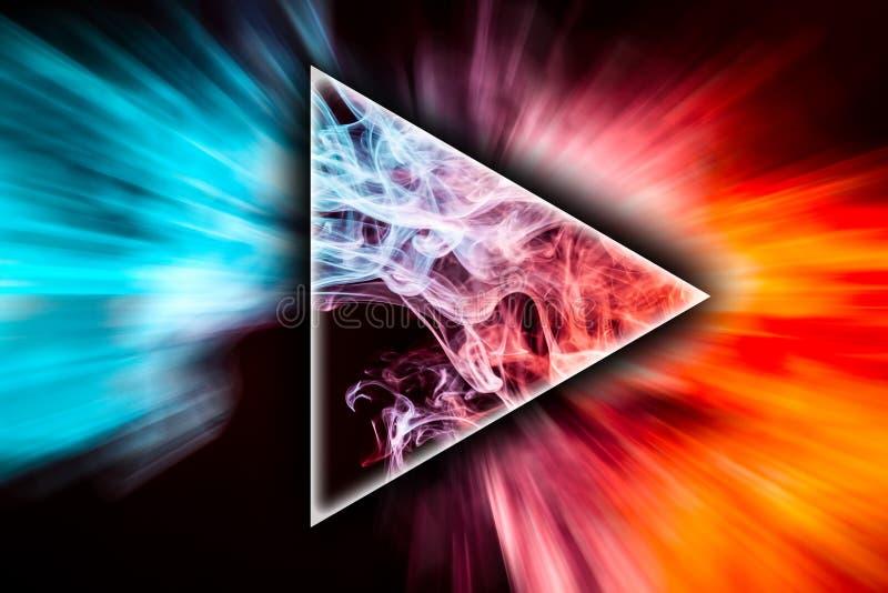 Αφηρημένος χρωματισμένος τέχνη καπνός με μορφή ενός τριγώνου στοκ εικόνες