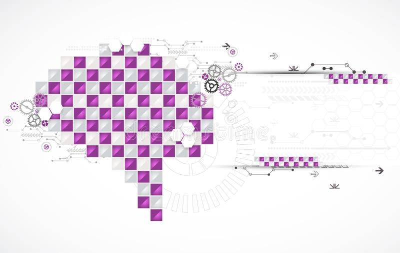 Αφηρημένος ψηφιακός εγκέφαλος, έννοια τεχνολογίας διανυσματική απεικόνιση