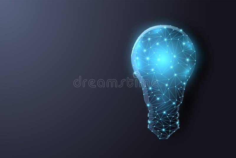 Αφηρημένος polygonal λαμπτήρας στο ψηφιακό υπόβαθρο Διανυσματική μπλε πυράκτωση ελεύθερη απεικόνιση δικαιώματος
