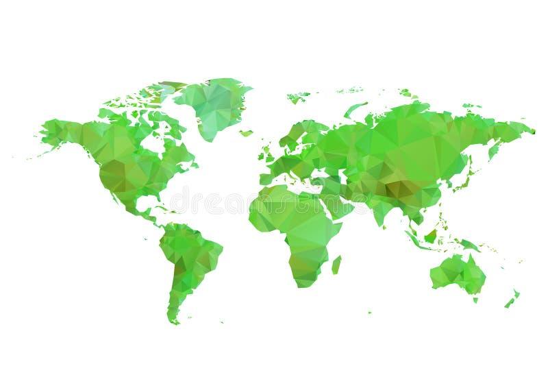Αφηρημένος polygonal παγκόσμιος χάρτης, πολυ χαμηλό διάνυσμα απεικόνιση αποθεμάτων