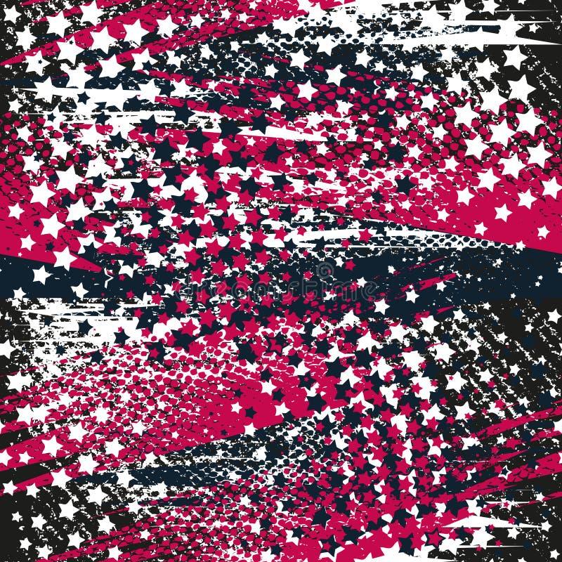 Αφηρημένο άνευ ραφής γεωμετρικό σχέδιο με τα αστέρια, γεωμετρικές μορφές, σημεία, ζωηρόχρωμο μελάνι χρωμάτων ψεκασμού Αστικό σχέδ ελεύθερη απεικόνιση δικαιώματος